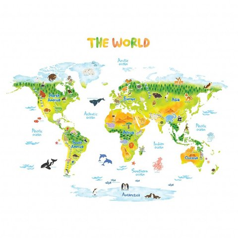 Decowall muursticker wereldkaart dieren groen