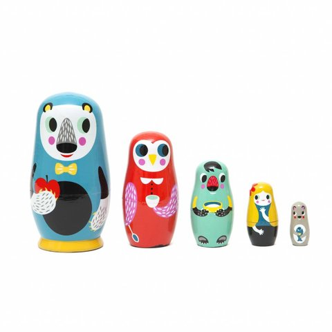 Petit Monkey nesting dolls in the woods