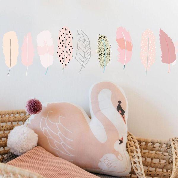 Mimi'lou Mimilou mini muurstickers kinderkamer veertjes plumes