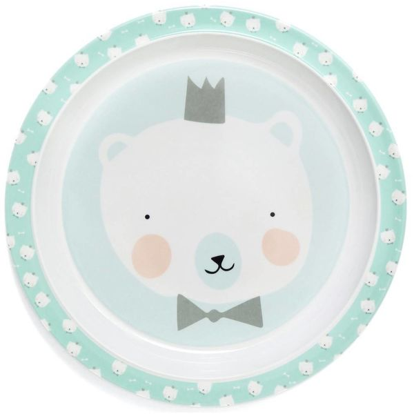 Petit Monkey Petit Monkey melamine kinderbord ijsbeer met strikje mint