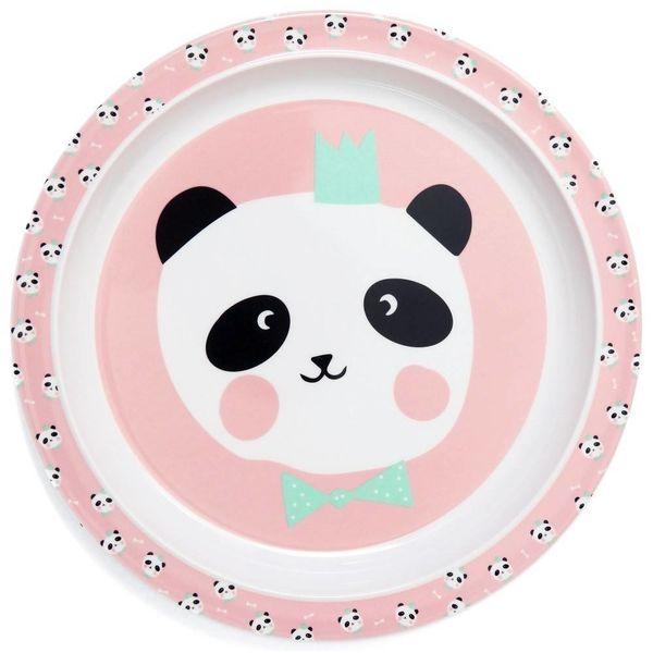 Petit Monkey Petit Monkey melamine kinderbord panda beer met strikje roze
