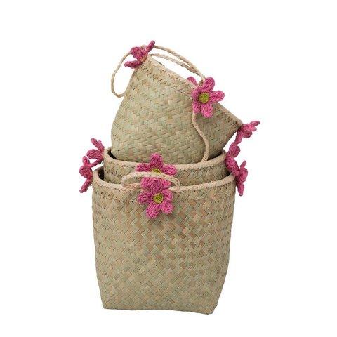 Rice ophangmanden met roze bloemen