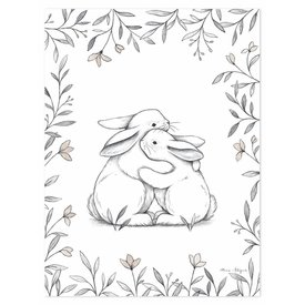 Lilipinso Lilipinso poster kinderkamer knuffelende konijntjes