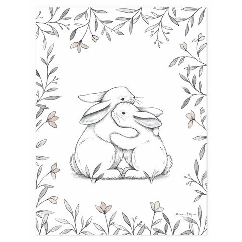 Lilipinso poster kinderkamer knuffelende konijntjes