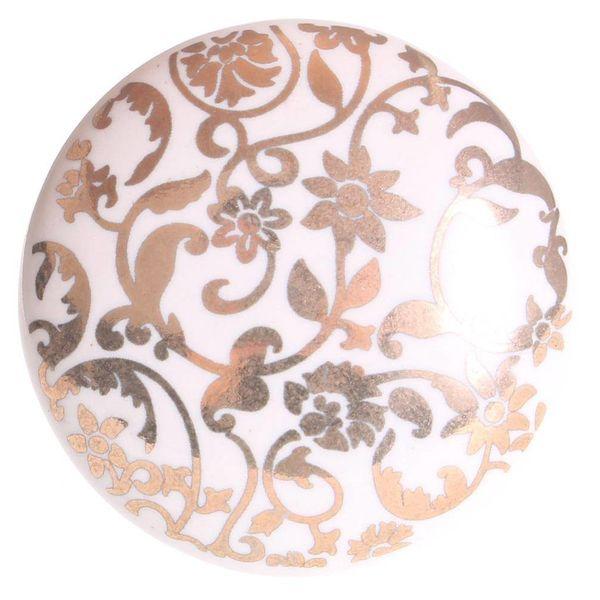La Finesse La Finesse kastknop porselein wit met gouden bloemen  patroon