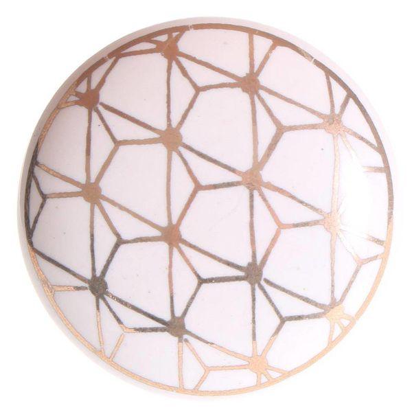 La Finesse La Finesse kastknop porselein wit met gouden patroon Geometric