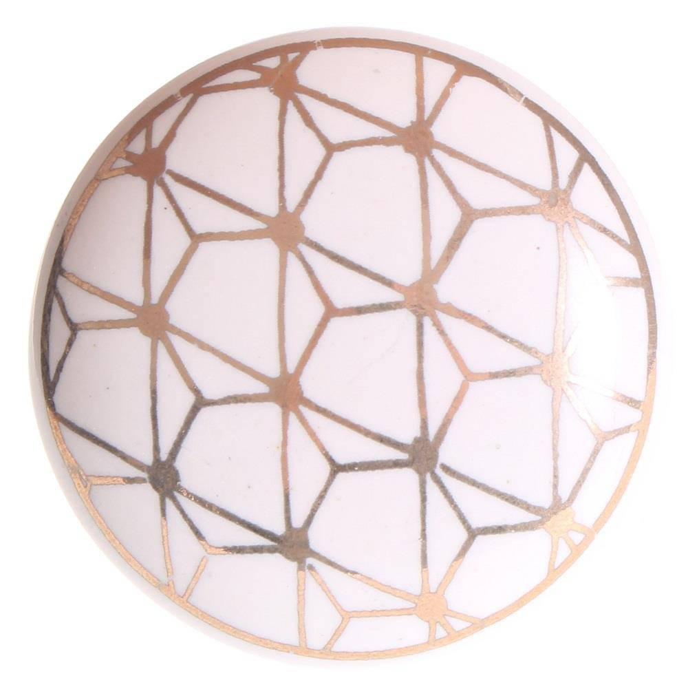 La Finesse Deurknop Wit Met Gouden Print Geometric
