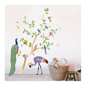 Mimi'lou Mimilou muursticker gouden boom met vogels With the Birds