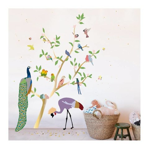 Mimilou muursticker gouden boom met vogels With the Birds