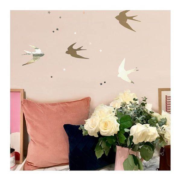 Mimi'lou Mimilou muurstickers vogels zwaluwen goud
