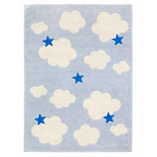 Kidsconcept Kids Concept kindervloerkleed Abbey wolken lichtblauw
