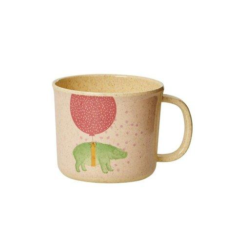 Rice melamine mok nijlpaard roze