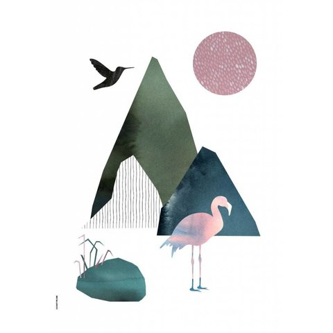 I Love My Type poster A3 Mountain Life Flamingo