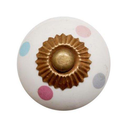 La Finesse kastknopje wit met gekleurde stippen