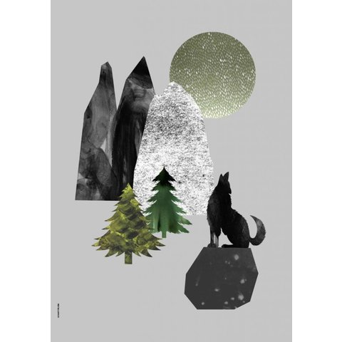 I Love My Type poster A3 Mountain Life wolf
