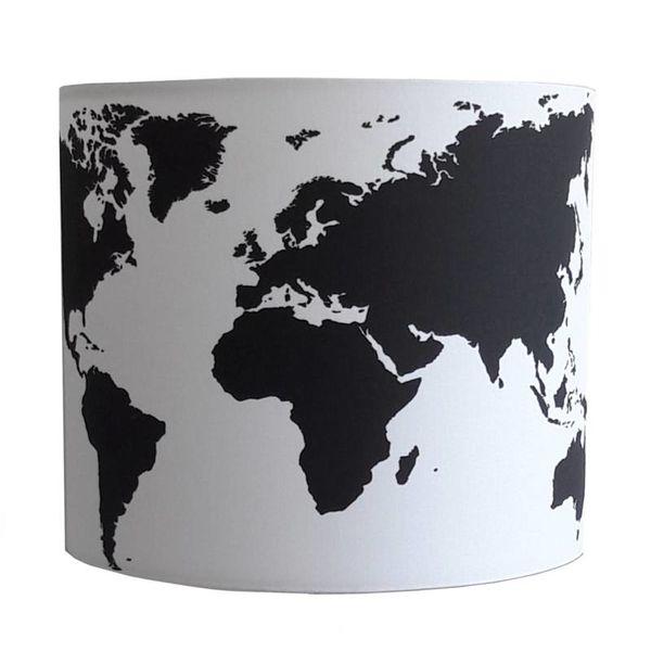 Designed4Kids Designed4kids wandlamp wereldkaart zwart wit