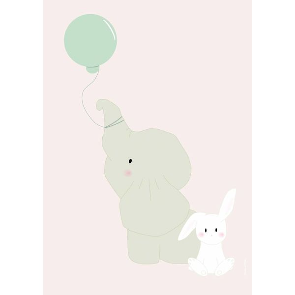 Designed4Kids Designed4Kids kinderposter A3 olifant met ballon