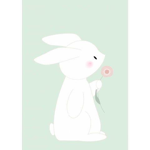 Designed4Kids poster A3 konijn met bloem