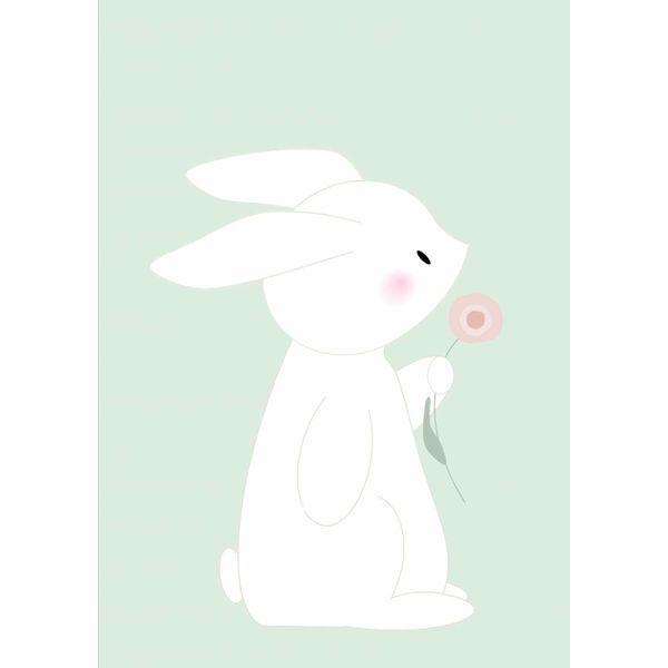 Designed4Kids Designed4Kids kinderposter A3 konijn met bloem