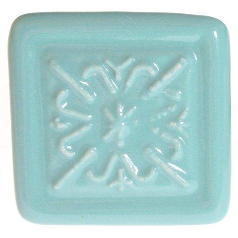 La Finesse kastknopje relief vierkant aqua blauw