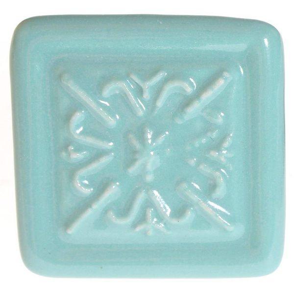 La Finesse La Finesse kastknopje relief vierkant aqua blauw