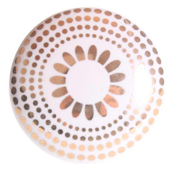 La Finesse La Finesse kastknop porselein wit met gouden stippen en bloem