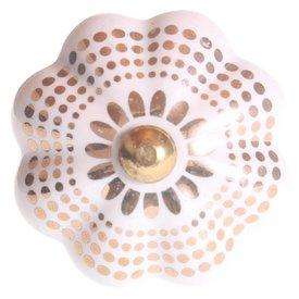 La Finesse La Finesse kastknopje bloem wit met gouden stippen