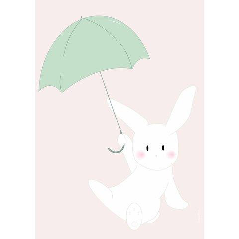 Designed4Kids poster A3 konijn met paraplu