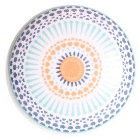 La Finesse La Finesse kastknopje patroon blauw oranje
