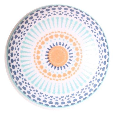 La Finesse kastknopje patroon blauw oranje