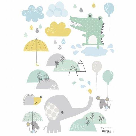 Lilipinso muursticker babykamer olifant en vriendjes
