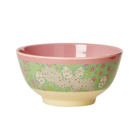Rice melamine kom vlinders groen roze