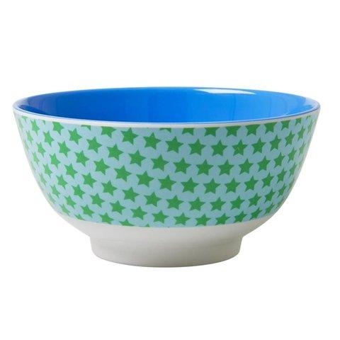 Rice melamine kom  sterren blauw groen