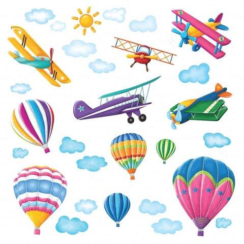 Decowall muursticker vliegtuigen en ballonnen