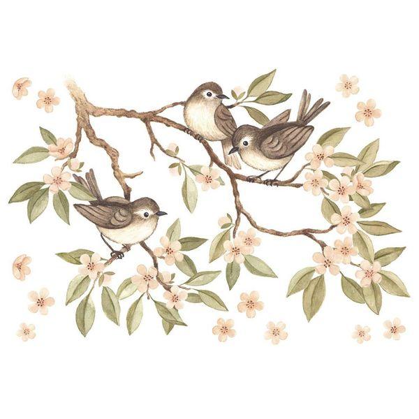 Lilipinso Lilipinso muursticker kinderkamer tak met vogeltjes