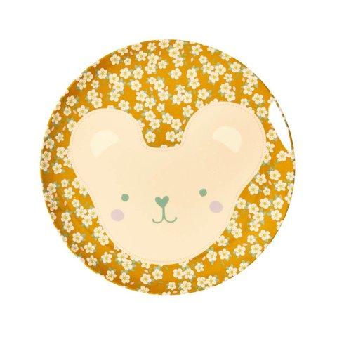 Rice melamine bord teddy beer met bloemen print