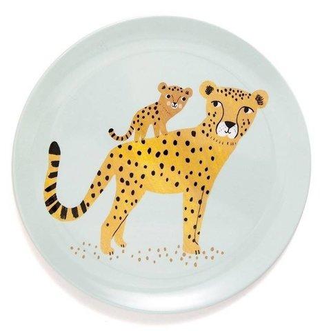 Petit Monkey melamine bord luipaard aqua
