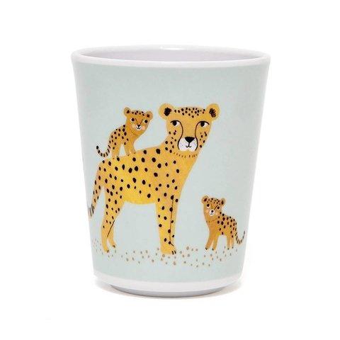 Petit Monkey melamine beker luipaard aqua