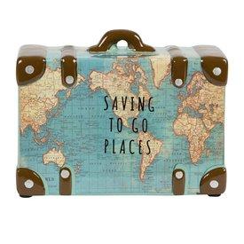 Sass & Belle Sass & Belle spaarpot koffer wereldkaart