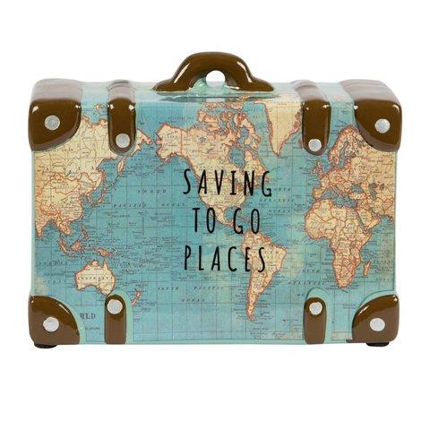 Sass & Belle spaarpot koffer wereldkaart