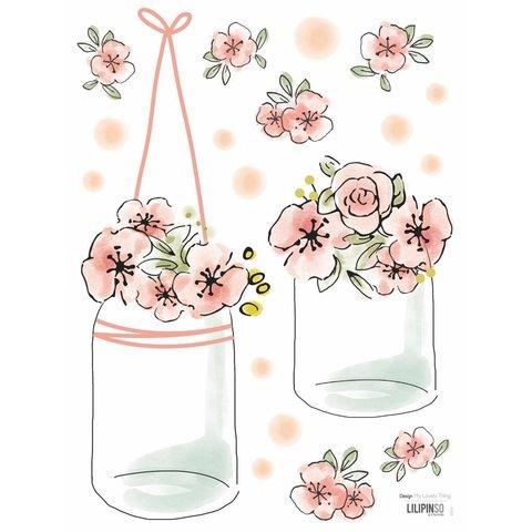 Lilipinso mini muurstickers bloemen in glazen potten