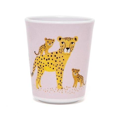 Petit Monkey melamine beker luipaard roze