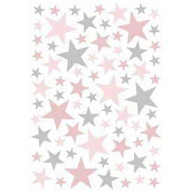 Lilipinso Lilipinso muursticker sterren grijs roze