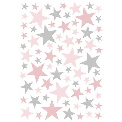 Lilipinso muursticker sterren grijs roze