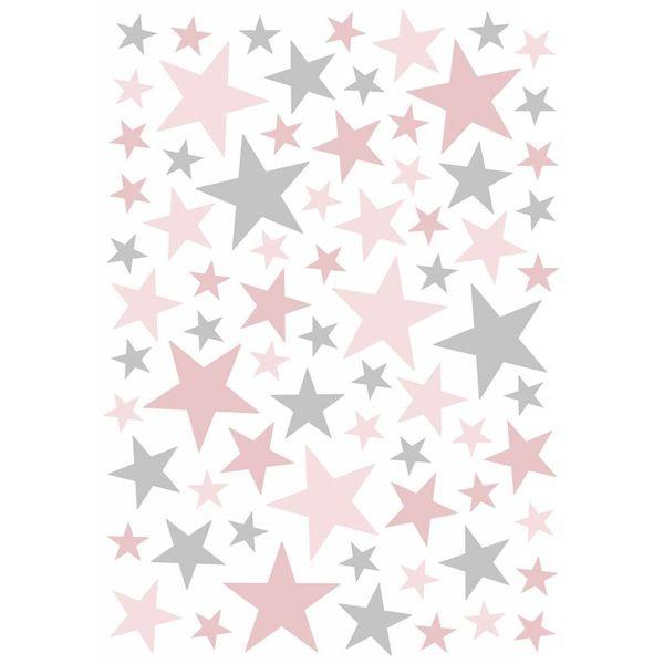 Lilipinso Lilipinso muursticker kinderkamer sterren grijs roze