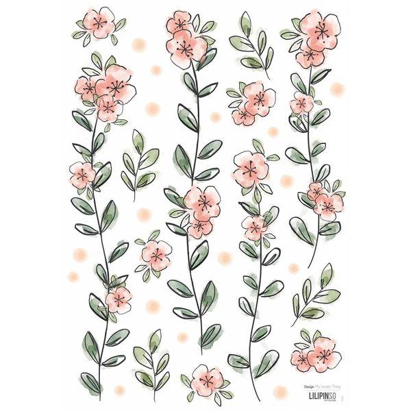 Lilipinso Lilipinso muursticker kinderkamer romantische bloemen slinger