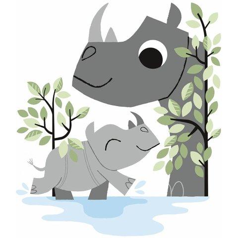 Lilipinso muursticker neushoorns