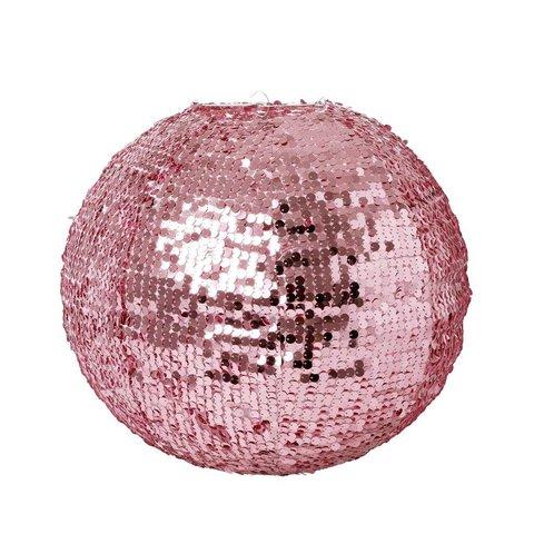 Rice hanglamp pailletten roze
