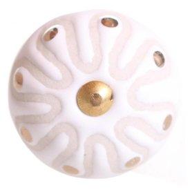 La Finesse La Finesse kastknopje wit met bloemen relief