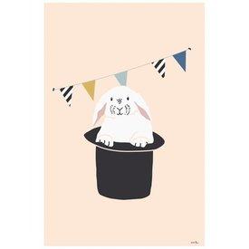 Mimi'lou Mimilou poster konijn met vlaggetjes